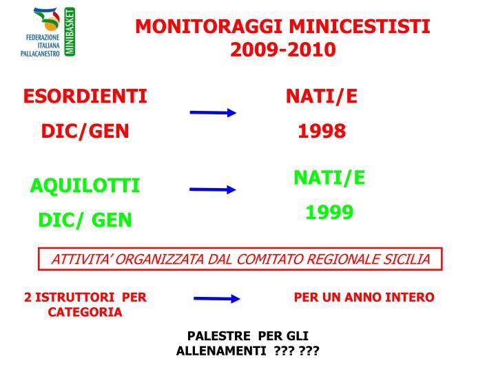 MONITORAGGI MINICESTISTI 2009-2010
