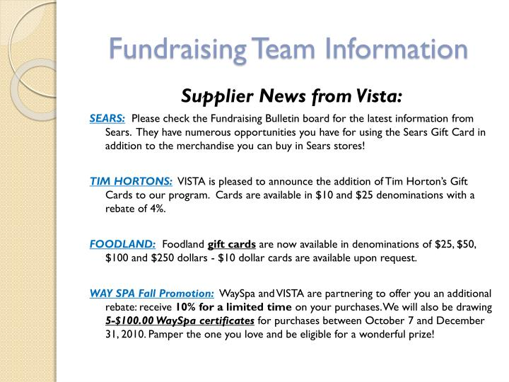 Fundraising Team Information