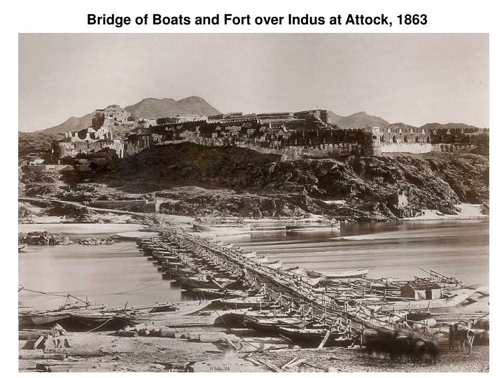 Bridge of boats and fort over indus at attock 1863