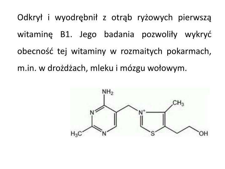 Odkrył i wyodrębnił z otrąb ryżowych pierwszą witaminę B1. Jego badania pozwoliły wykryć obecność tej witaminy w rozmaitych pokarmach, m.in. w drożdżach, mleku i mózgu wołowym.