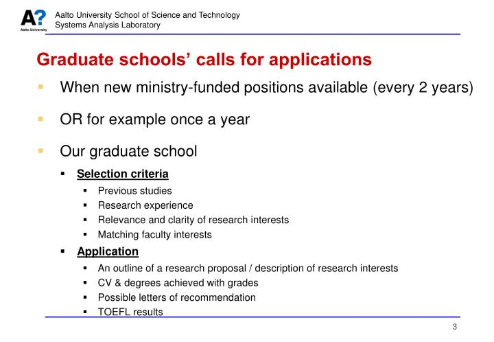Graduate schools' calls for applications