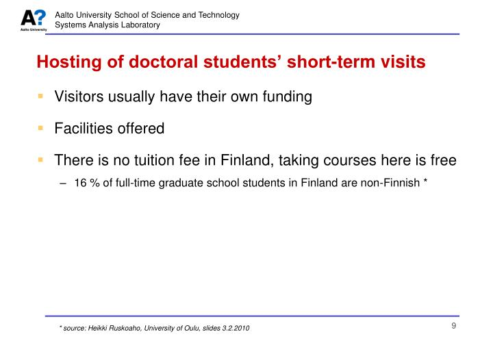 Hosting of doctoral students' short-term visits
