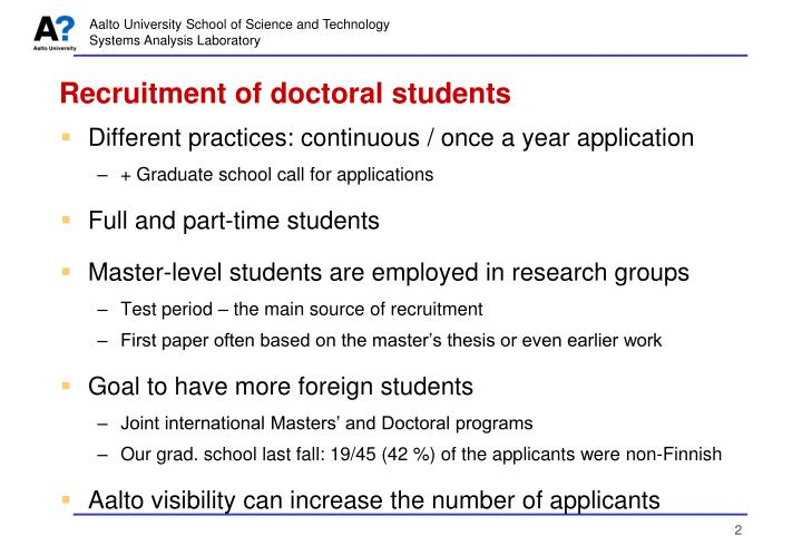 Recruitment of doctoral students