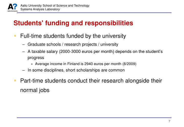 Students' funding and responsibilities