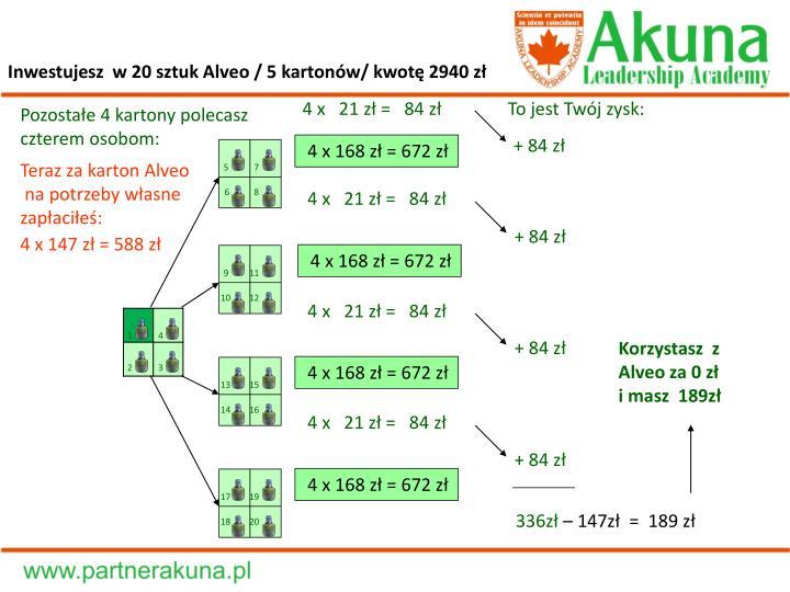 Inwestujesz  w 20 sztuk Alveo / 5 kartonów/ kwotę 2940 zł