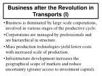 business after the revolution in transports i