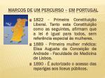 marcos de um percurso em portugal