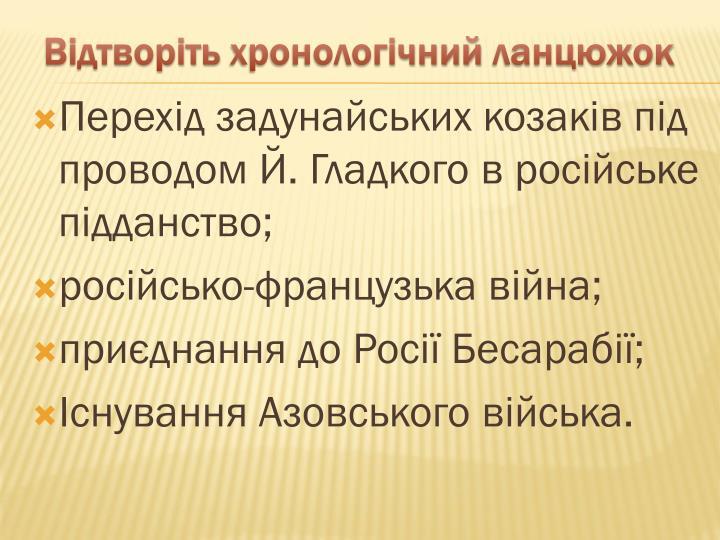 Перехід задунайських козаків під проводом Й. Гладкого в російське підданство;