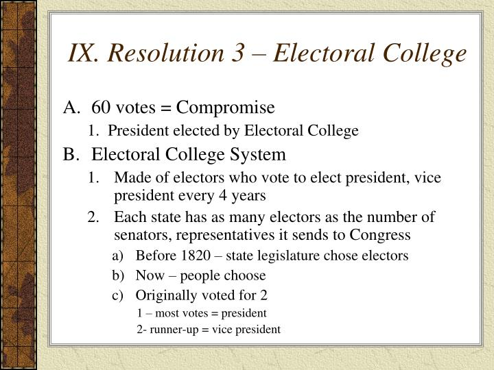 IX. Resolution 3 – Electoral College