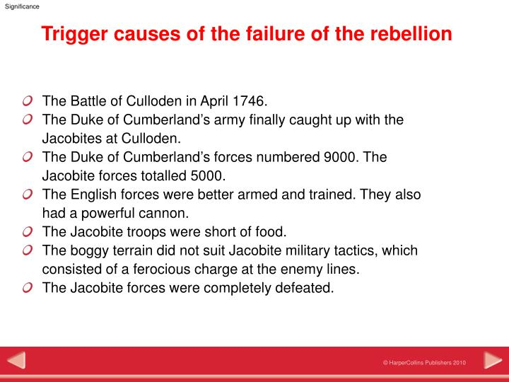 Trigger causes of the failure of the rebellion