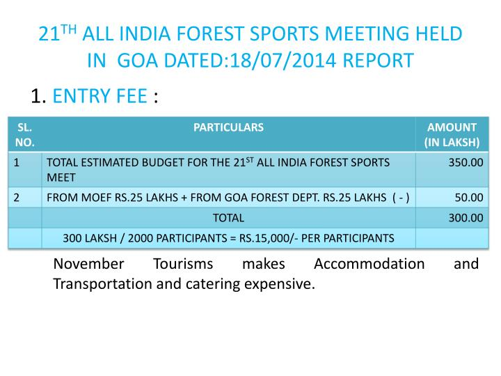 21st all india forest sports meet 2014 goa