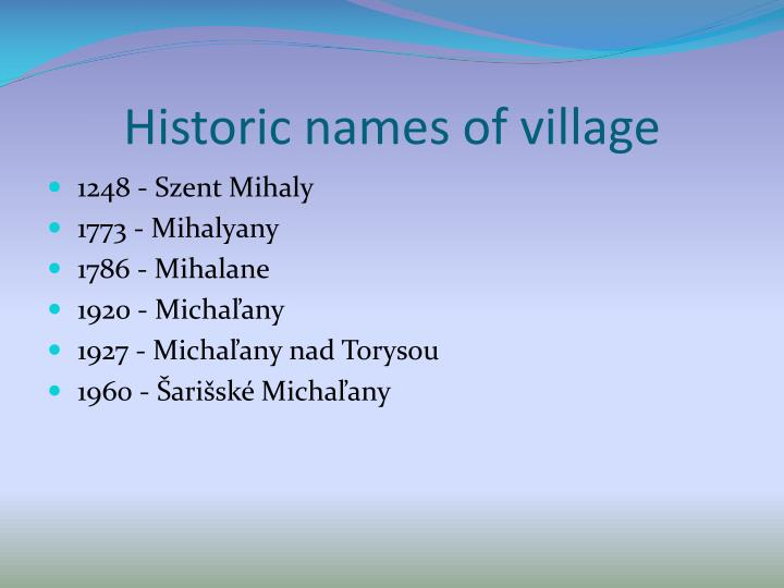 Historic names of village