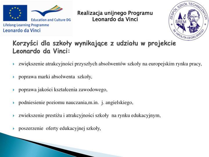 Korzyści dla szkoły wynikające z udziału w projekcie Leonardo da Vinci: