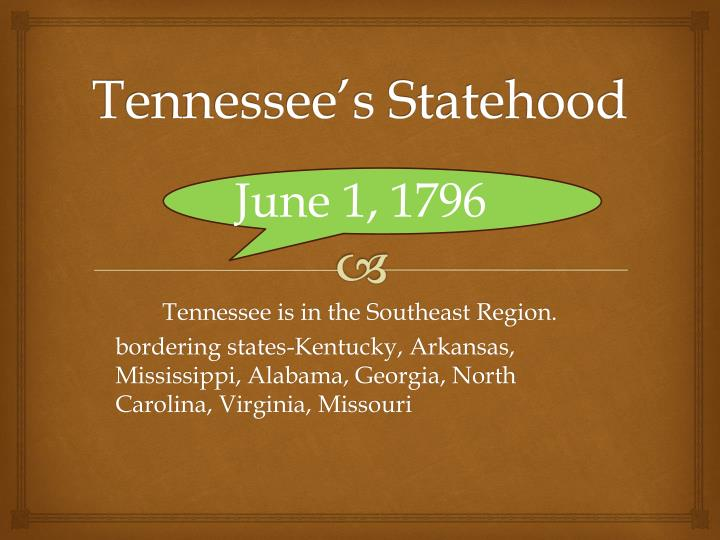 Tennessee's Statehood
