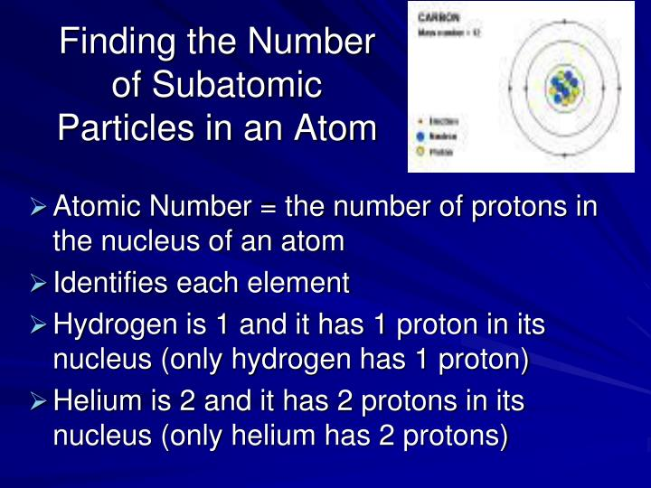 Finding the Number of Subatomic Particles in an Atom