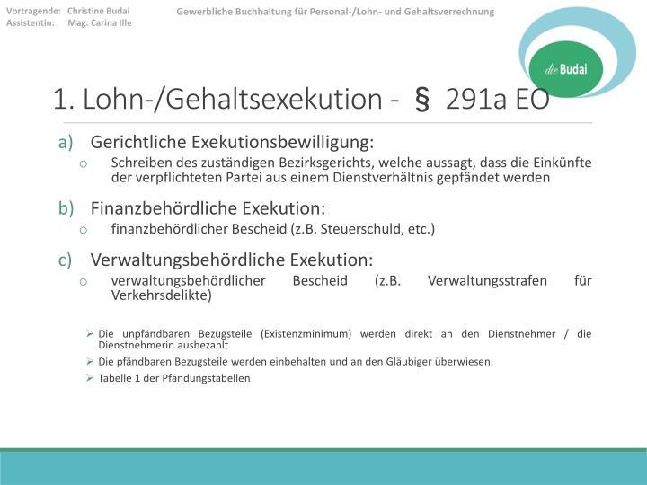 1. Lohn-/Gehaltsexekution - § 291a EO