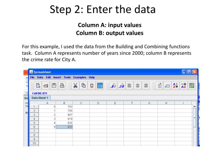 Step 2: Enter the data
