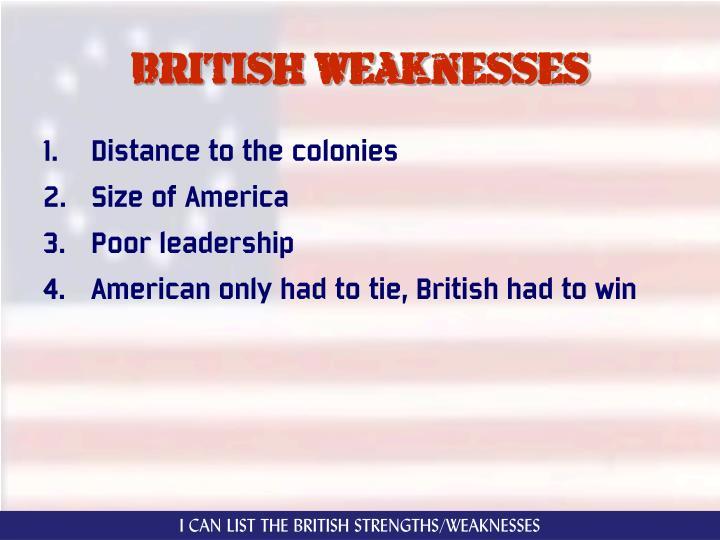 British weaknesses