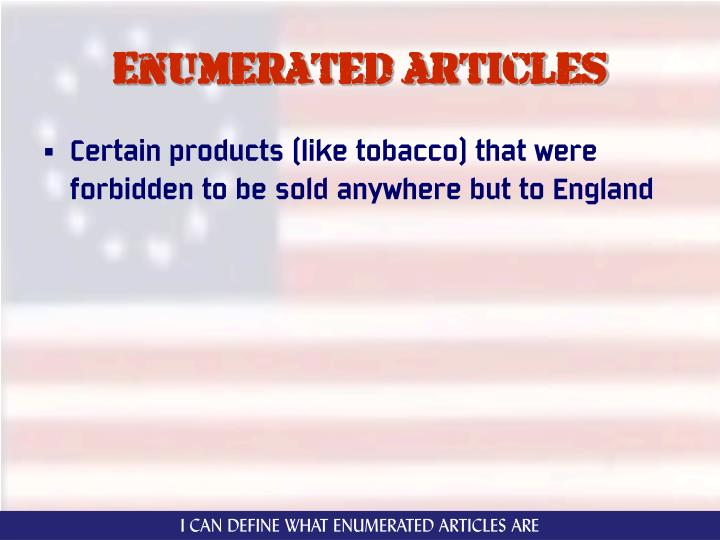 Enumerated articles