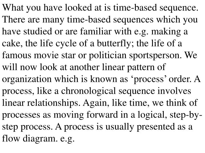 What you have looked at is time-based sequence. There are many time-based sequences which you have studied or are familiar with e.g. making a cake, the life cycle of a butterfly; the life of a famous movie star or politician sportsperson. We will now look at another linear pattern of organization which is known as 'process' order. A process, like a chronological sequence involves linear relationships. Again, like time, we think of processes as moving forward in a logical, step-by-step process. A process is usually presented as a flow diagram. e.g.