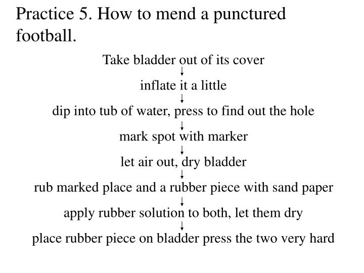 Practice 5. How to mend a punctured  football.