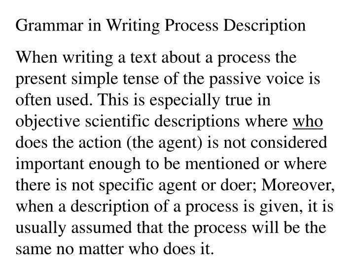 Grammar in Writing Process Description