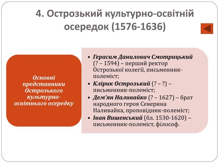 4. Острозький культурно-освітній осередок (1576-1636)