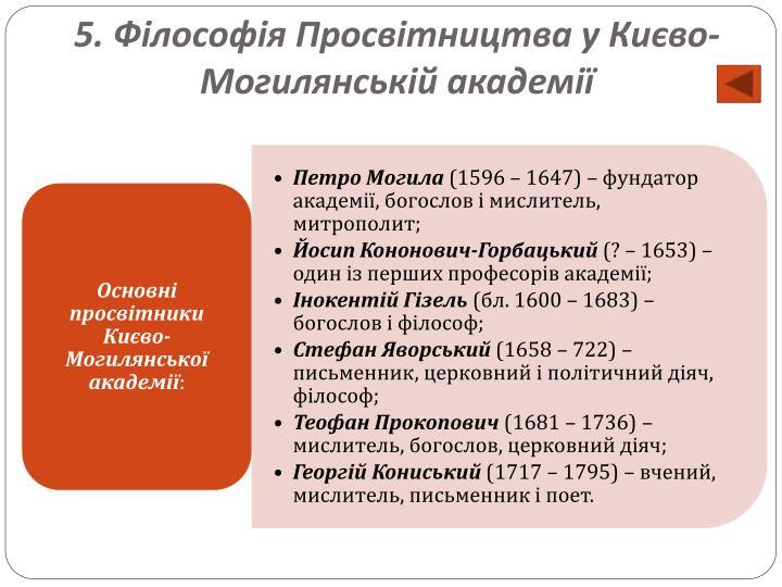 5. Філософія Просвітництва у Києво-Могилянській академії