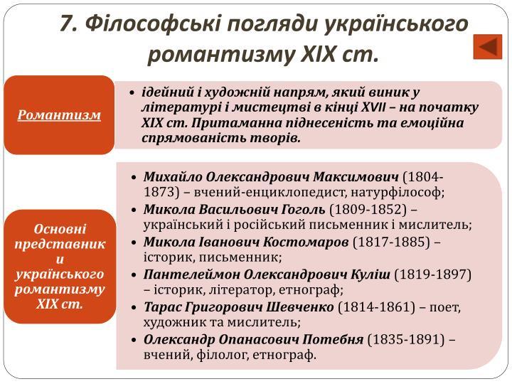 7. Філософські погляди українського романтизму ХІХ ст.