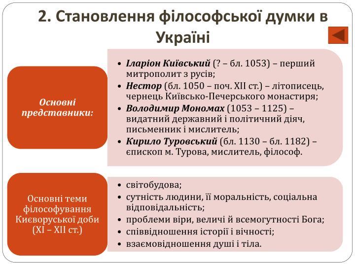 2. Становлення філософської думки в Україні