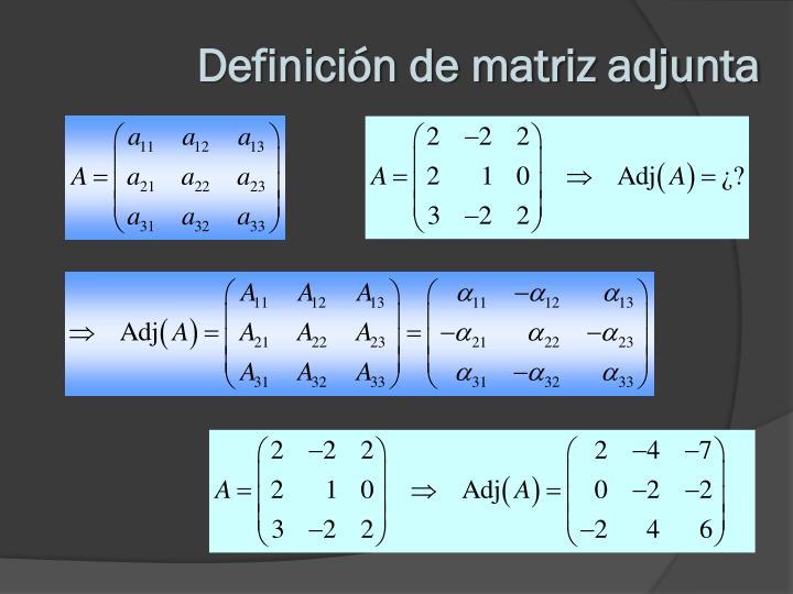Definición de matriz adjunta