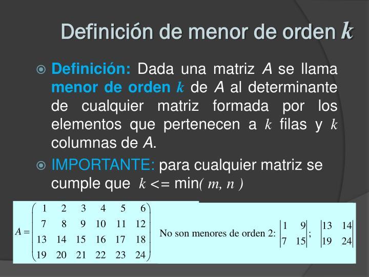 Definición de menor de orden