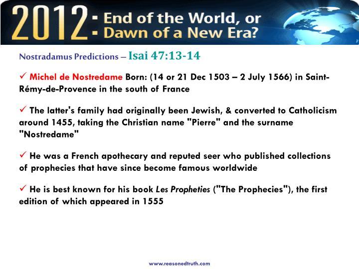 Nostradamus Predictions –