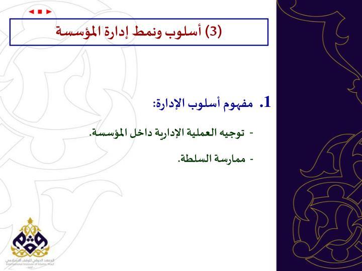 (3) أسلوب ونمط إدارة المؤسسة