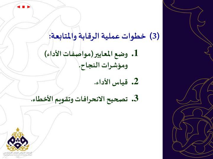 (3)  خطوات عملية الرقابة والمتابعة: