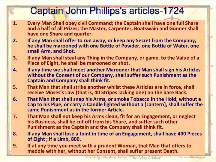 Captain John Phillips's articles-1724