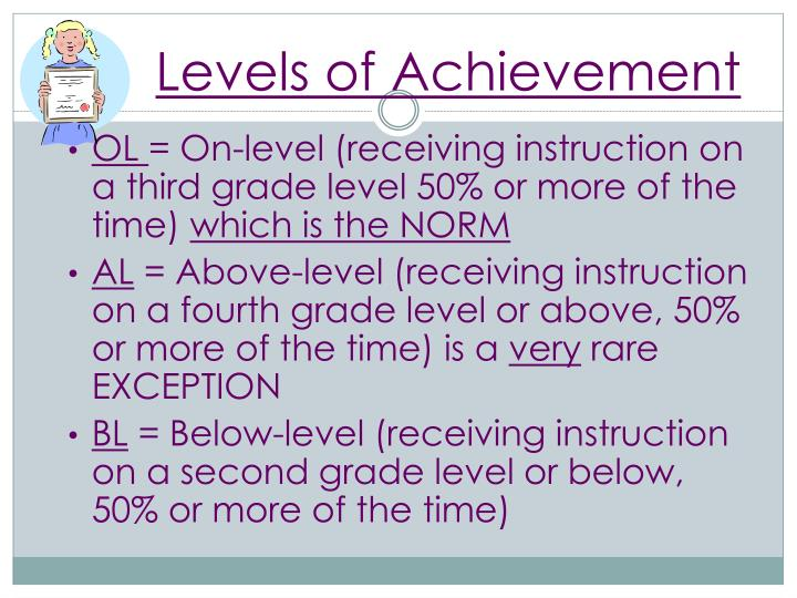 Levels of Achievement