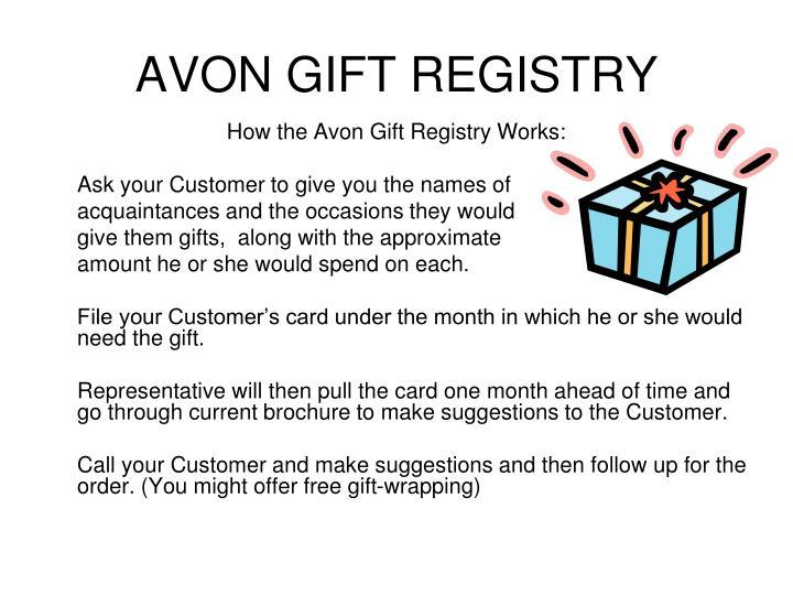 AVON GIFT REGISTRY