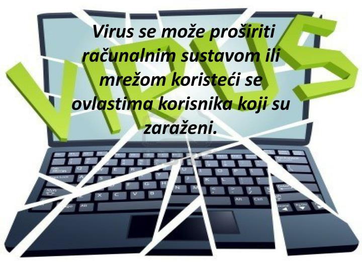Virus se može proširiti računalnim sustavom ili mrežom koristeći se ovlastima korisnika koji su zaraženi.