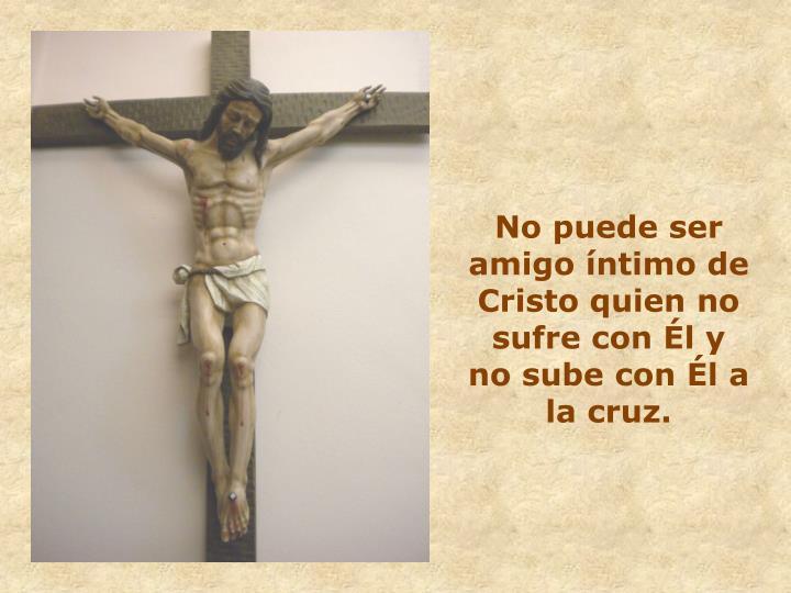 No puede ser amigo íntimo de Cristo quien no sufre con Él y no sube con Él a la cruz.