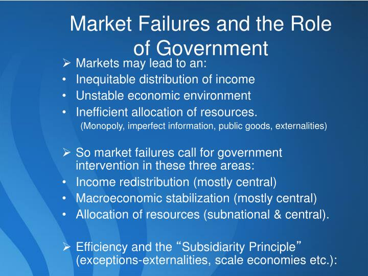 Market Failures and the Role of Government