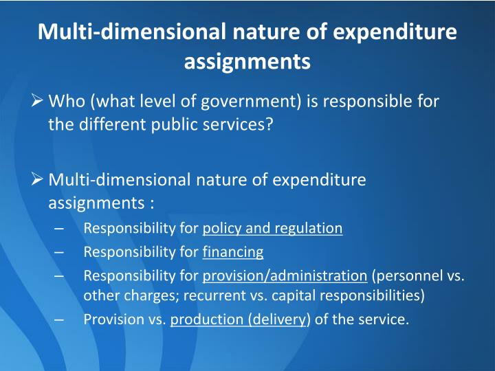 Multi-dimensional nature of expenditure assignments