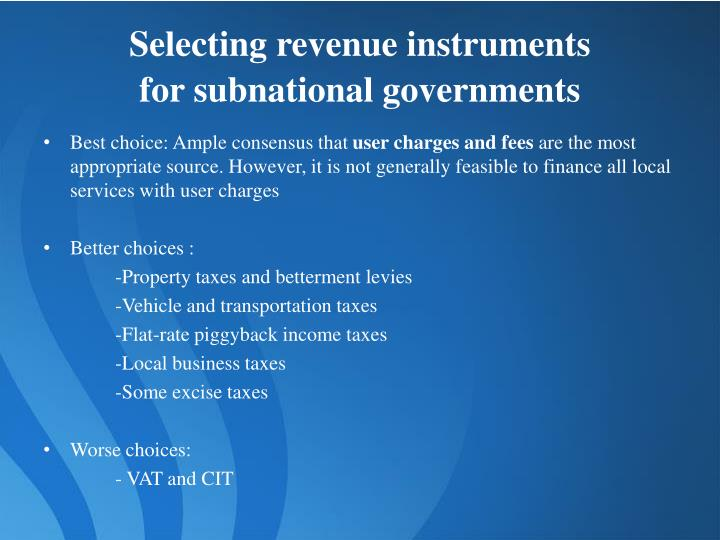 Selecting revenue instruments