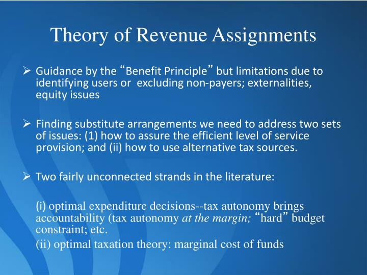 Theory of Revenue Assignments