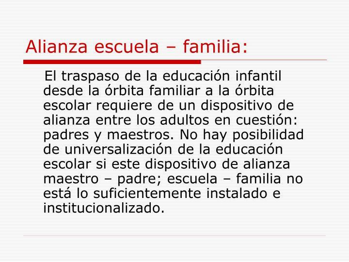 Alianza escuela – familia: