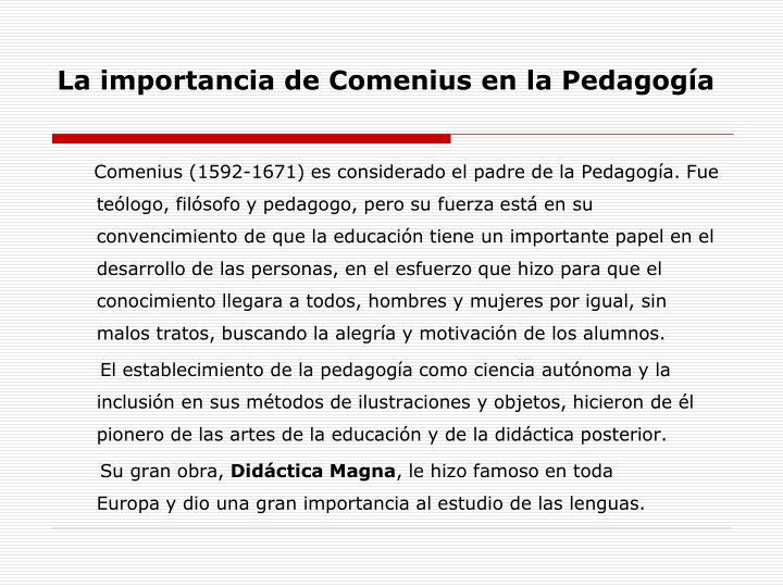 La importancia de Comenius en la Pedagogía