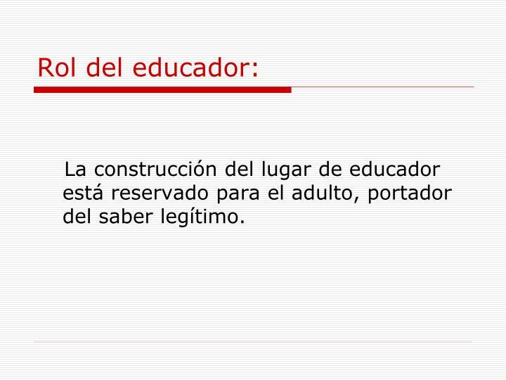 Rol del educador: