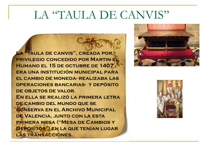 """LA """"TAULA DE CANVIS"""""""