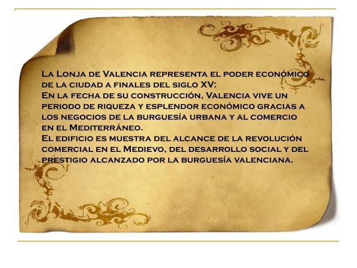 La Lonja de Valencia representa el poder económico de la ciudad a finales del siglo XV: