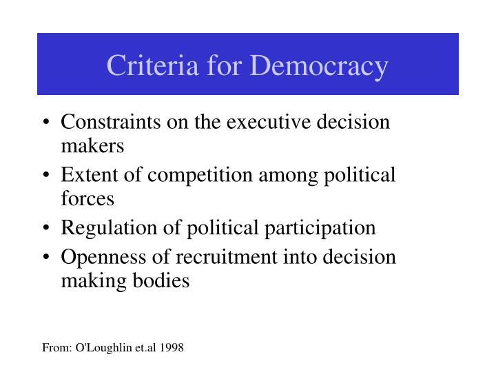 Criteria for Democracy